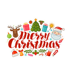merry christmas greeting card or banner xmas vector image