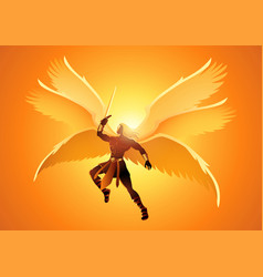 Michael archangel with six wings holding vector
