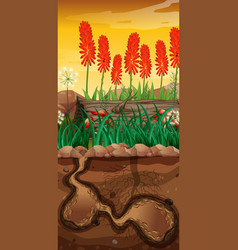 Nature scene with underground hole and flower vector