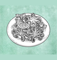 Octopuses on plate vector