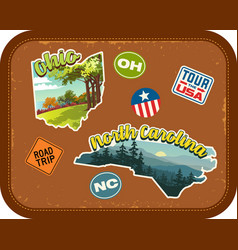 Ohio north carolina travel stickers vector
