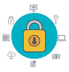online security with padlock icons vector image