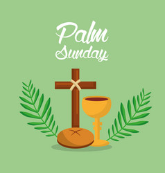 Palm sunday holi week cross bread vector