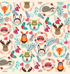 pattern winter holiday with cute cartoon forest vector image