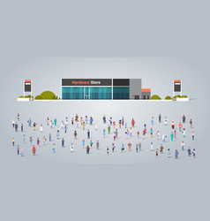 People group in front hardware store building vector