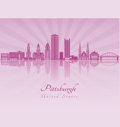 pittsburgh v2 skyline in purple radiant orchid vector image