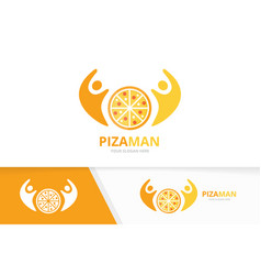 pizza and people logo combination food and vector image