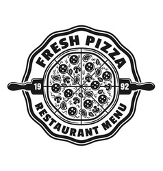 pizzeria emblem logo badge or label with vector image