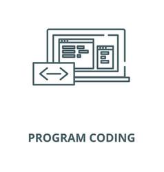 program coding line icon linear concept vector image