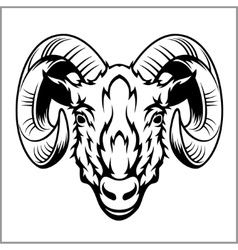 Ram head logo or icon in black and white vector