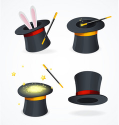 realistic detailed 3d black magic hat set vector image