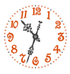 Retro clock face with elegant clock hands vector