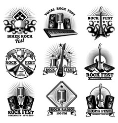 Retro rock n roll band labels grunge rocks party vector