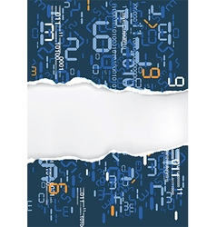Ripped paper with digital numbers vector image