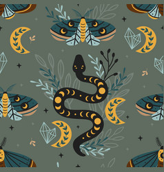 Seamless pattern magic forest with moth and snake vector