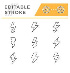 Set editable stroke line icons lightning vector