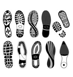 set eleven shoe track prints illlustrations vector image