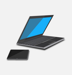 Set laptop and tablet vector