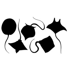 Set of different stingray silhouettes vector