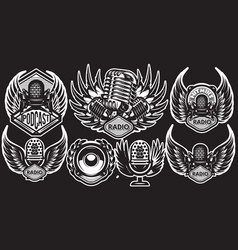 set templates with microphone and wings on vector image