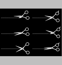 Set white scissors cutting points dotted line vector