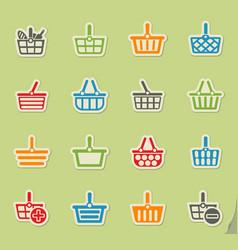 Shopping basket icon set vector