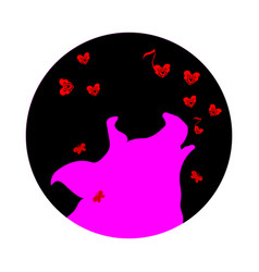 silhouette of pink pig howling at the full moon vector image
