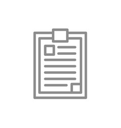 simple clipboard notepad line icon symbol and vector image