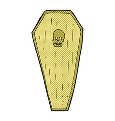Spooky comic cartoon coffin vector