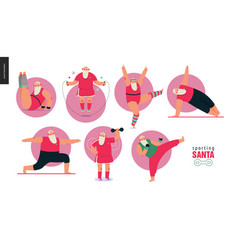 Sporting santa - gym exercises vector