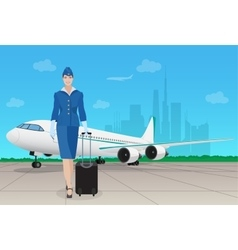 Stewardess in uniform near airplane in airport vector image