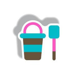 Stylish icon in paper sticker style bucket shovel vector