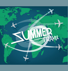 Summer travel concept with aircrafts vector