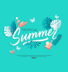 summer typography design with tropical floral vector image