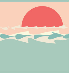 Sunset over sea minimalism vector