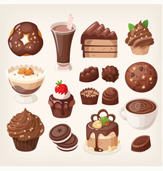 sweet chocolate treats and dessert vector image