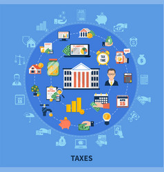 taxes round composition vector image