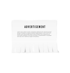 Tear-off paper template with advertisement text vector