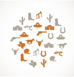 Texas icons vector image