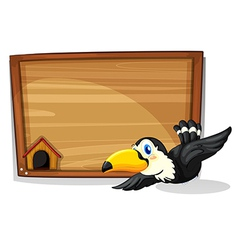 The empty signboard with a black bird vector image