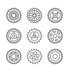 Thin line gears icon set vector image