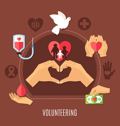 volunteer services charity composition vector image