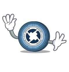 waving 0x coin character cartoon vector image