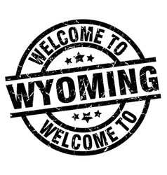 Welcome to wyoming black stamp vector