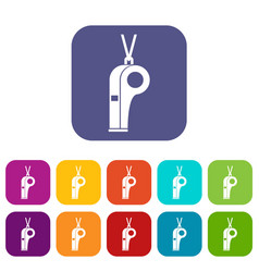 Whistle icons set vector