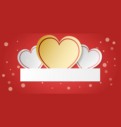 white and gold heart with decoration on red vector image