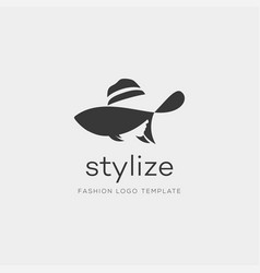 Woman with fashion hat abstract logo design vector