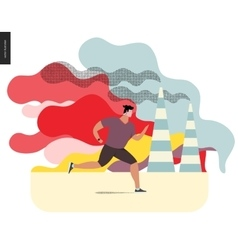 Young man running in smog vector image