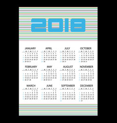 2018 simple business wall calendar with vector image vector image