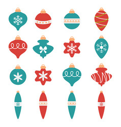 colorful christmas balls set colorful christmas vector image